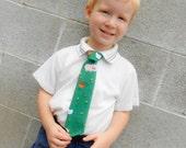 Old MacDonald Had a Tie Little Boy Necktie Farm Animals Fun Toddler Tie Adjustable Green Pig Rooster Chicken