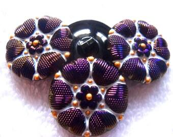 Czech  Glass  Buttons  4 pcs  Gorgeous  27mm      IVA  110