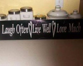 24x6 Live, Laugh, Love Wooden Sign with Hangers
