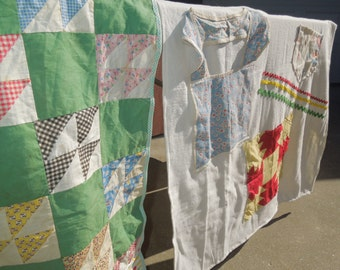 Absolute OOAK vintage upcycled linens tablecloth for wedding, shower, trade show, quilt pieces, doilies, aprons, feedsacks,