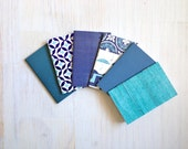 Notebooks: Small Notebooks, Stocking Stuffer, Blue, Stripes, Teal, For Her, Mini Journals, Christmas Party Favors, 6 Tiny Journals Set, T117