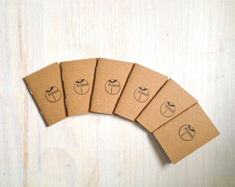 Tiny Journals: Notebooks, Friend, Kraft, Natural, Brown, Yellow, Kids, Small Notebooks, Unique, Gift, Stocking Stuffer, For Him, For Her