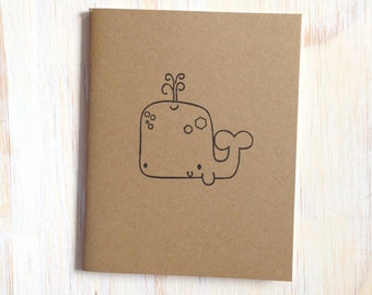 Medium Notebook: Whale, Cute, Sea, Brown, Wedding, Favor, Journal, Blank, Unlined, Unique, Gift, Small, Notebook, For Her, For Him