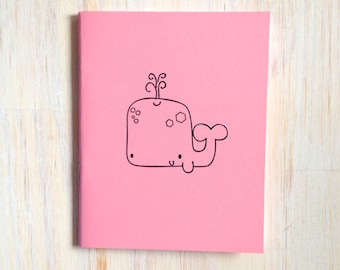 Medium Notebook: Whale, Cute, Sea, Pink, Wedding, Favor, Journal, Kids, Unlined, Unique, Gift, Small, Notebook, For Her, For Him, UU213