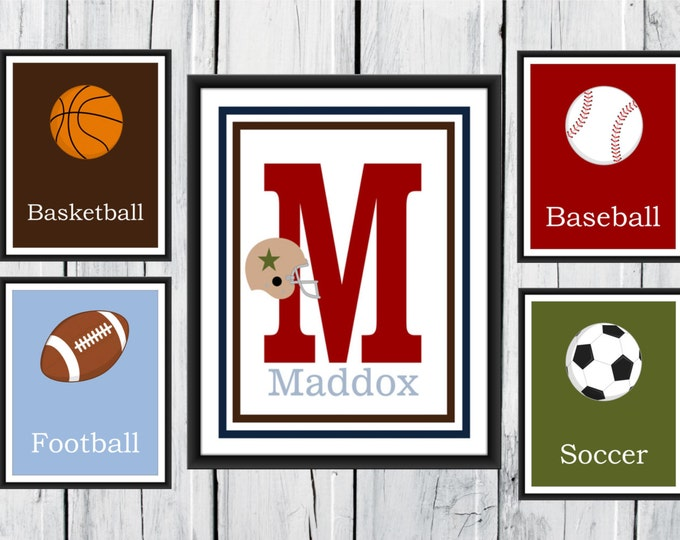 Sports Nursery Decor - 5 Piece Set - Custom Colors