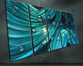 """Modern Original Metal Wall Art Bright Abstract Painting Sculpture Indoor Outdoor  Decor """"Love of sea"""" by Ning"""
