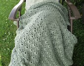Sage Green Hand Crocheted Afghan, 48 x 64 blanket, soft acrylic yarn, handmade afghan