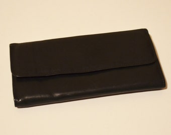 Black Leather Wallet, Rolfs American Classic Black Wallet, Women's Wallet, Amity Cowhide Leather Vintage Wallet