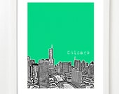 Chicago City Art - Chicago Illinois Poster - Chicago River View - VERSION 5