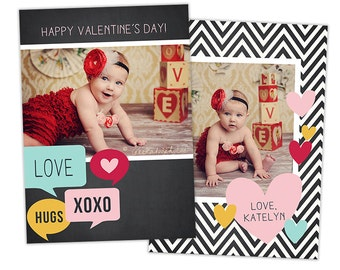 Valentine's Day Card Template for Photographers Valentines Day Photo Card Photoshop Card Template - VD113