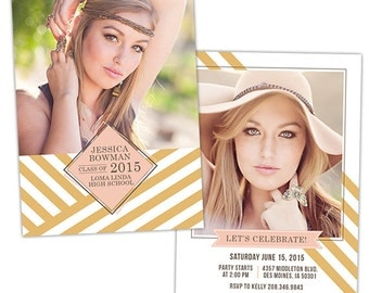Senior Graduation Announcement Photo Card Template for Photographers - Photoshop Templates for Photographers - Photo Card Template - GD128