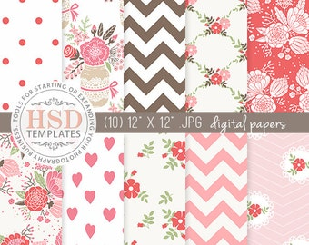 Red Pink Brown Digital Paper - Shabby Chic Digital Paper - Floral Digital Scrapbook Paper - Digital Background - Chevron Digital Paper DP135