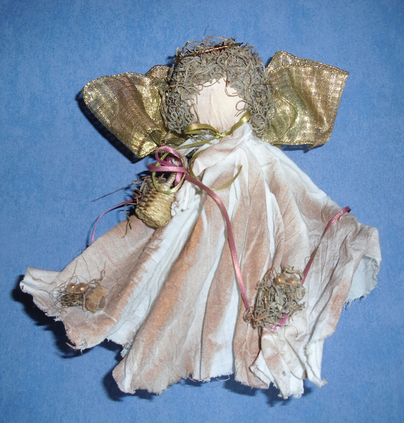 Crochet Angel Baptism Gift Christmas Lace Angel Ornament Tree: Vintage Handmade Ornament Woodland Angel With Fabric Robe