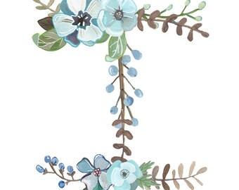 I - Floral Letter Print - Typography Illustration
