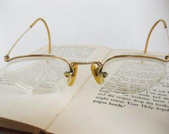 Vintage Men's Wire Eye Glasses with Leather Case, Prescription, 12K GF
