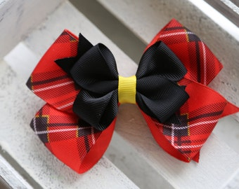 The Gwen Stacked Bow (Scottish Plaid Red, Black and Yellow)