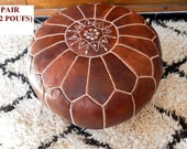 Couple of 2 Leather  Poufs : natural brown tan