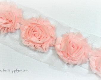 Blush Pink -  Shabby Chiffon Rose Trim - YOUR CHOICE: 1/2 yard or 1 yard - Chiffon flower trim by the yard - Style A