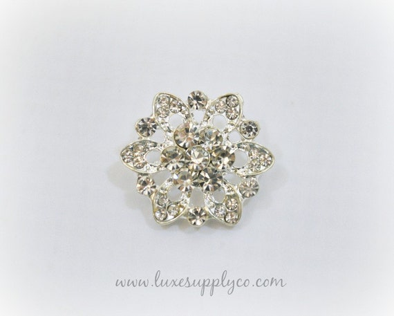 Elegant Metal Rhinestone Buttons 20mm with Loop - YOUR CHOICE: Set of 5, 10, or 50 - Wholesale Discounts - MR301 with loop