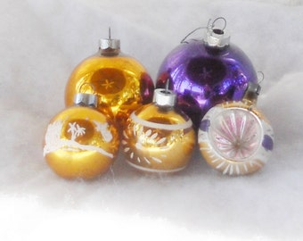 Purple and Gold Vintage Mercury Glass Ornaments, Set of 5, Shiny Brite, Hollywood Regency, Regal