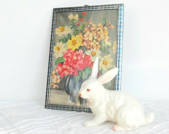Vintage Framed Cottage Style Flowers Print, Shabby Chic, Home Decor, Summer Flowers, Ca. 1940's
