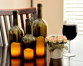 Wine Bottle Candles Wedding Centerpiece (set of 3)