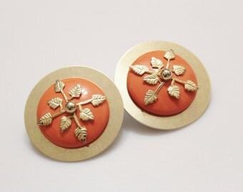 Large Orange Stud Earrings , 1980's Earrings, Gold Leaf Earrings