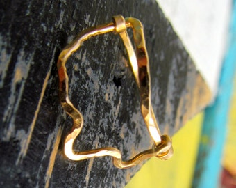 Gold Mississippi Hammered wire ring, Mississippi Outline ring, Mississippi Jewelry, Mississippi state, wire state ring, Mississippi hammered