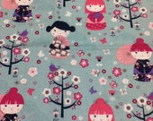 Kimono Girl Flower Rainbow Umbrella Tree Bird Fabric - 1 Yard