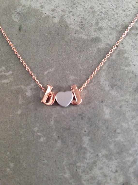 Rose gold lower case initials necklace, personalized necklace, lower case initial necklace, letter necklace