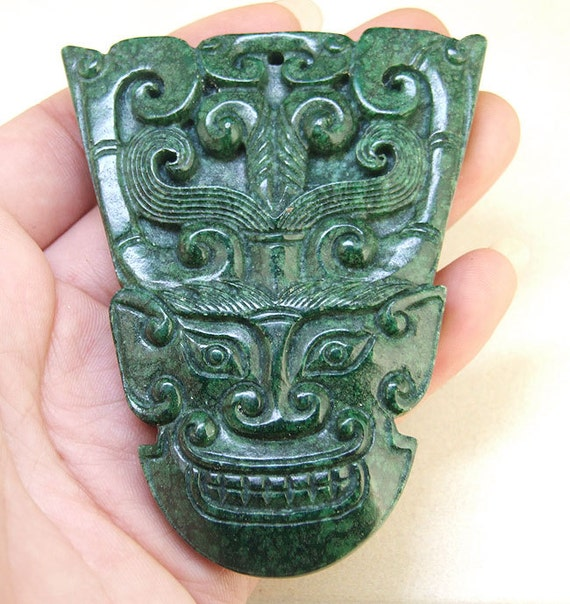 Unique large carved green jade pendant face old by dongstones