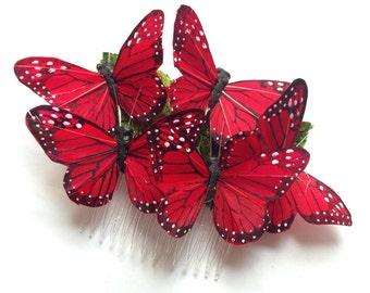 Monarch glen feather butterfly hair comb hairpiece bridal weddings boho red