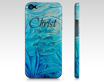 CHRIST The Way The Truth and The Life iPhone 4 5 5s 5c SE 6 6s 7 Plus Case Turquoise Blue Purple Pink Green Abstract Scripture Bible Verse