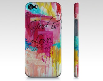 God is Love- iPhone 4S 5 5C SE 6 6s 7 Plus Case Samsung Galaxy Case Magenta Hot Pink Turquoise Christian Rain Clouds Scripture Bible Verse