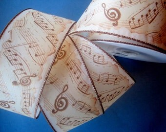 """Music Notes Wide Wired Ribbon, Brown / Cream, 2 1/2"""" inch wide, 1 yard, For Home Decor, Gift Baskets, Victorian & Romantic Crafts"""