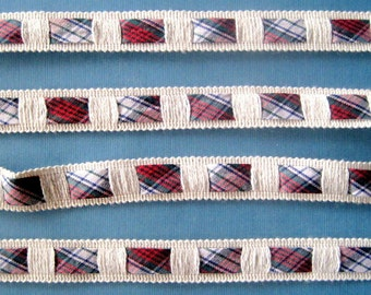 Plaid Pulled Through Trim, Multi / White, 5/8 inch wide, 1 yard, For Home Decor, Accessories, Apparel, Scrapbook, Mixed Media