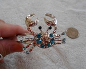 High Fashion Handset Crystal Clamper Bracelet-Teal Blue Crab