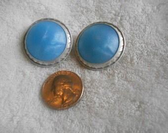 Vtg Retro Pierced Earrings- Misty Blue Buttons -R3562