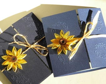 Sunflower and navy blue wedding invitation / Sunflower wedding invitation