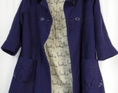 80s Paul Smith Paul signature navy royal blue cotton ribbed 3/4 sleeve swing coat/ yellow embroidery: SML US 2-4