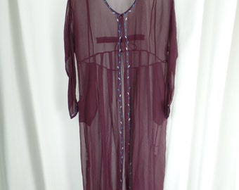 Neiman Marcus boho sheer silk beachwear maxi coat coverup/ made in Italy/ burgundy + turquoise embroidery: