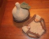 Acorn Hat and Diaper Cover Set