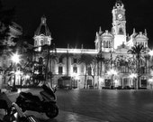 "Valencia Spain Main Square at Night  10""x8"" Black and White"