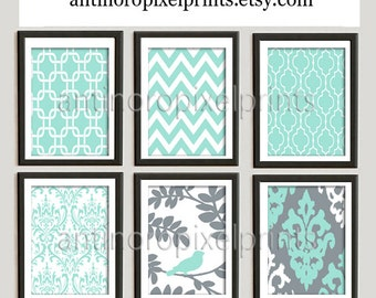 Vintage / Modern inspired Art Prints Collection  -Set of (6) - 8x10 Prints - Featured in Cool Blue Grey (UNFRAMED)