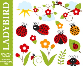 BUY 1 GET 1 FREE - Digital Ladybird Clip Art Leaves, Branch, Ladybug, Flowers, Sun Clip Art. Commercial and Personal use