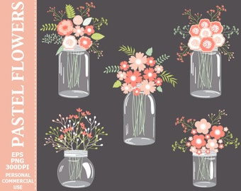 70% OFF SALE Digital Pastel Flowers in Mason Jars Clip Art - Jars, Pink, Wedding, Pastel, Flowers, Bouquets, Compositions Clip Art.