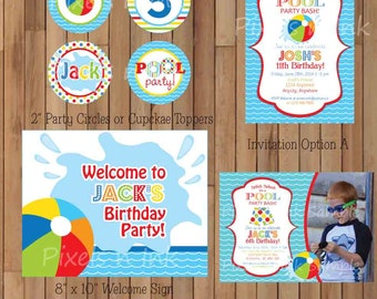 DIY Printable Pool Party Birthday Package.  Customizable Pool Party Collection by Pixels n Ink.