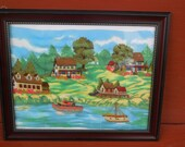 Unique Cotton Print Embroidery Picture Of  Village on a Canal  Different/  :)Use Coupon Code CLEARINGOUT25 Must Be used at check