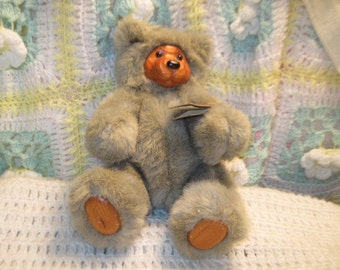 RAIKES 1989 COOKIE Gray Bear  with Tag Ex Condition, Vintage Teddy Bear, Vintage Stuffed Teddy Bear, Vintage Bear  :)S