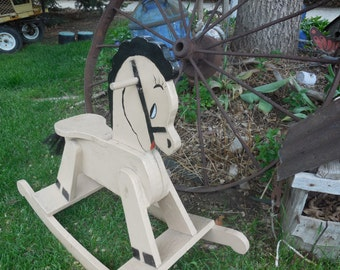 Sweet Primitive Hand Made Vintage Rocking  Horse /Toddler Gift idea / Childhood Memories / NOT INCLUDED In Any Discount or Couon Sales
